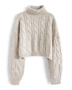 Turtleneck Braid Knit Crop Sweater in Sand