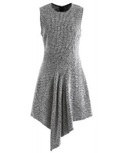 Tweed Asymmetric Sleeveless Dress in Grey