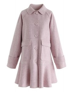 Button Down Pockets Flare Coat Dress in Pink