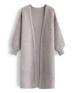 Split Hem Puff Sleeves Longline Knit Cardigan in Taupe