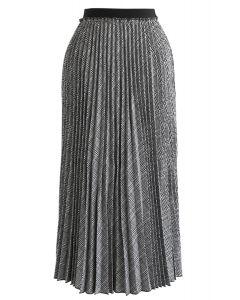 Full Plaid Pleated Midi Skirt in Grey