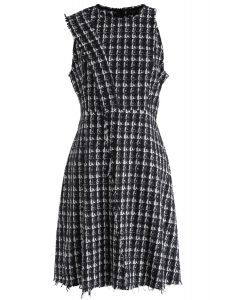 Sleeveless Raw Edge Tweed Dress in Black