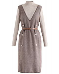 Belted Fake Two-Piece Knit Dress in Caramel
