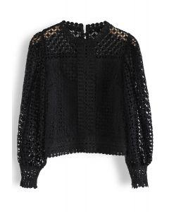 Full Crochet Puff Sleeves Crop Top in Black