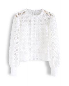Full Crochet Puff Sleeves Crop Top in White