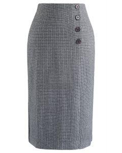 Plaid Button Split Pencil Midi Skirt in Grey
