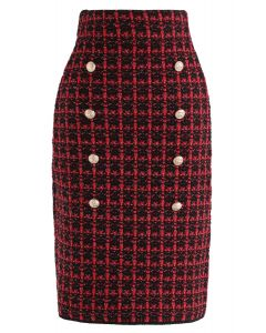 Buttons Decorated Grid Pencil Midi Skirt in Red