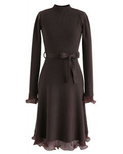 Bell Cuffs Mock Neck Knit Midi Dress in Brown