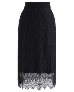 Reversible Lace hem Knit Skirt in Black