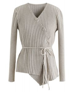 Asymmetric Slant Button Down Knit Top in Sand
