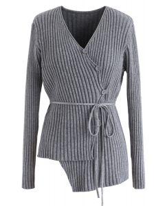 Asymmetric Slant Button Down Knit Top in Grey