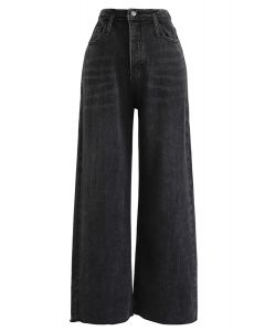Pockets High-Waisted Wide-Leg Jeans in Black