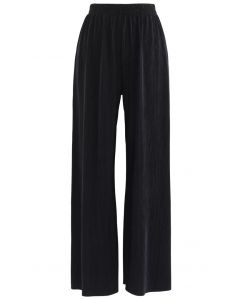 Corduroy Wide-Leg Pants in Black