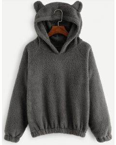 Teddy Hoodie Sweatshirt in Smoke