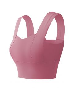 Strappy Seam Detail Medium-Impact Sports Bra in Berry