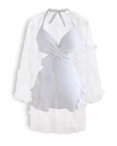 Halter Tied Ruffle Swimsuit with Mesh Kimono in White