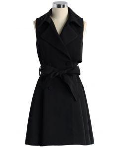 Manteau sans Manches avec Ceinture en Noir