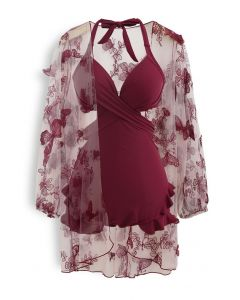 Halter Tied Ruffle Swimsuit with Mesh Kimono in Wine