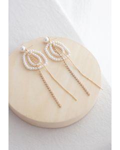 Boucles d'Oreilles Perles Chaîne en Cristal de Perles Cercle
