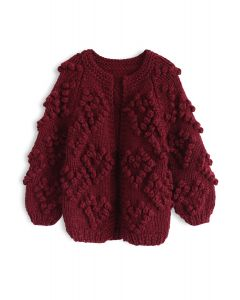 Knit Your Love Cardigan en vin pour les enfants