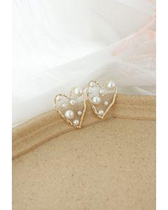 Boucles d'oreilles cœur ornées de perles