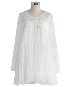 Le Tulle Fin Robe en Blanc