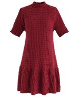 Embossed Frill Hem Knit Dress in Red