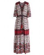 Robe maxi boutonnée à fleurs avec cordon de serrage
