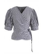 Bowknot Waist Wrapped Top in Gingham Print