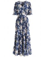 Demure Floral Print Wrapped Maxi Dress in Navy