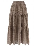 Frill Hem Broderie Cotton Midi Skirt in Taupe
