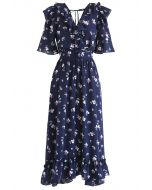 Aflutter Bouquets Print Wrap Maxi Dress in Navy