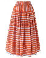 Stripes Print Ruffle Pleated Midi Skirt