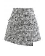 Tweed Asymmetric Mini Skirt in Black