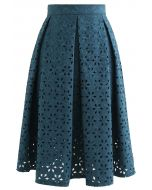 Snowflake Cutwork Jacquard Pleated Skirt in Teal