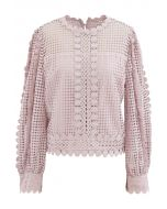Solid Tone Full Crochet Long Sleeves Top in Pink
