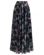 Exuberant Floral Chiffon Maxi Skirt in Navy