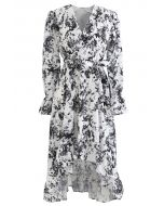 Floral Wrap Bowknot Waterfall Hem Dress in Black