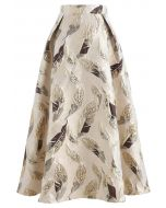 Golden Leaves Jacquard Midi Skirt