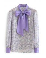 Bow Neck Floret Puff Sleeve Organza Shirt in Purple