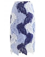 Multi-Color Leaves Crochet Pencil Skirt in Sky Blue