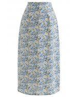 Jupe crayon en mousseline de soie à fleurs Ditsy en bleu