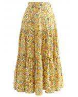 Jupe jaune en coton à volants fleuris