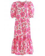 Robe mi-longue rose vif à manches bouffantes Blossom Dolly