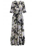Luxuriant Flower Frilling Wrap Dress in Black