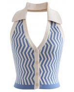 Halter Neck Zigzag Buttoned Crop Knit Top