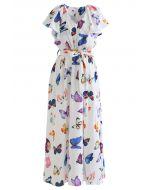 Butterfly Print Self-Tie Sleeveless Maxi Dress
