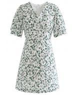 Gentle Blossom V-Neck Buttoned Mini Dress in Green