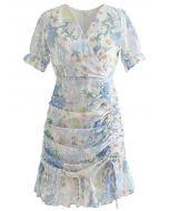 Floral Drawstring Ruched Ruffle Bodycon Mini Dress