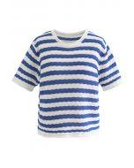 Haut en tricot gaufré à rayures contrastées en bleu